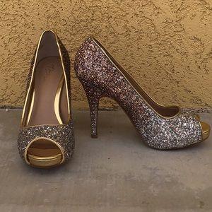 Silver glitter peep toe ombre pump 7.5